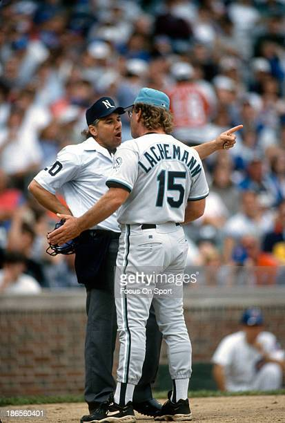 Manager Rene Lachemann of the Florida Marlins argues with an umpire during an Major League Baseball game against the Chicago Cugs circa 1995 at...