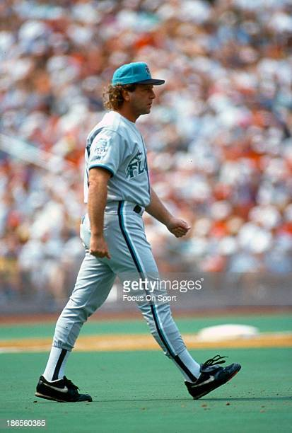 Manager Rene Lachemann of the Florida Marlins walks out to the mound during an Major League Baseball game against the Philadelphia Phillies circa...