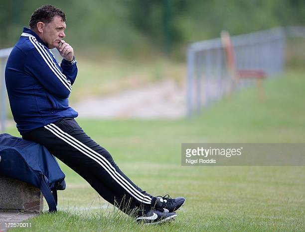 Manager Richie Burke of Livingston looks on from the touchline during a preseason friendly between Livingston and Dinamo Bucharest at the Rothwell...