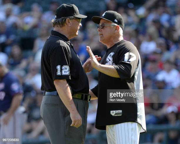 Manager Rick Renteria of the Chicago White Sox argues a call with umpire Gerry Davis during the game against the Minnesota Twins on June 28 2018 at...
