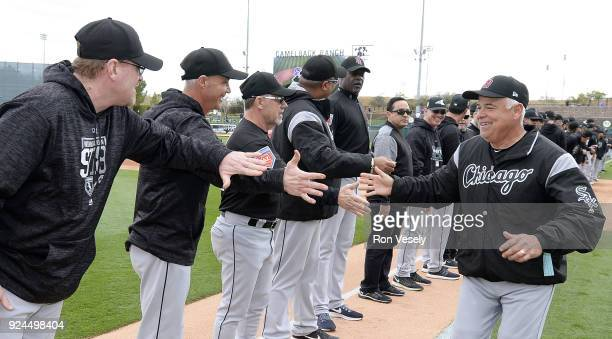 Manager Rick Renteria of the Chicago White Sox greats players during pregame introductions prior to the game against the Los Angeles Dodgers on...