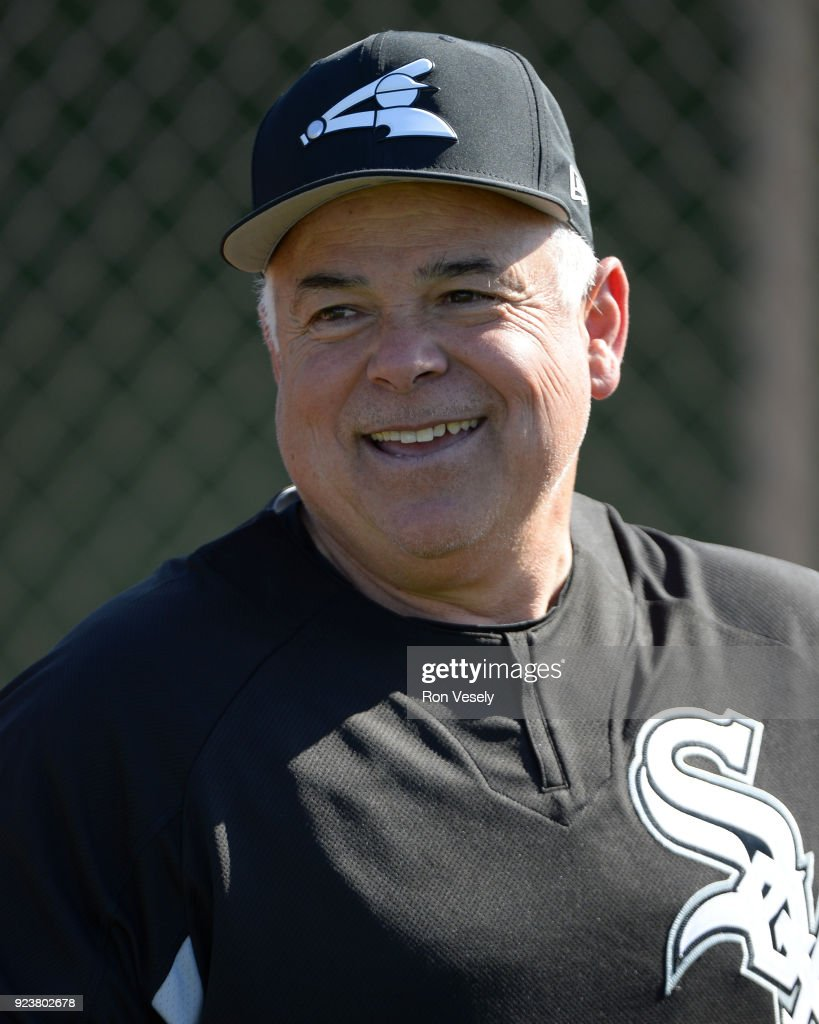 Manager Rick Renteria #17 of the Chicago White Sox looks on during a during spring training workout February 22, 2018 at Camelback Ranch in Glendale Arizona.