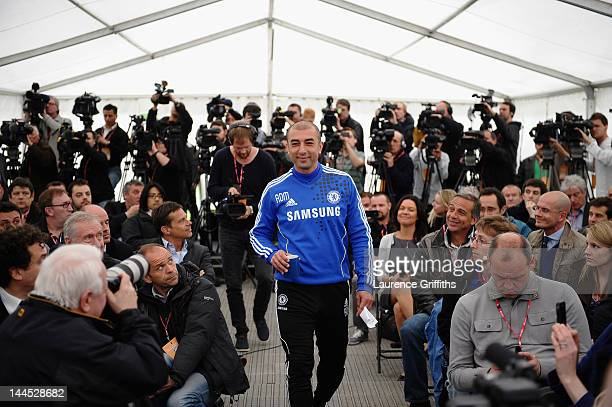 Manager Roberto Di Matteo of Chelsea speaks to the media during a press conference at Chelsea Training Ground on May 15 2012 in Cobham England