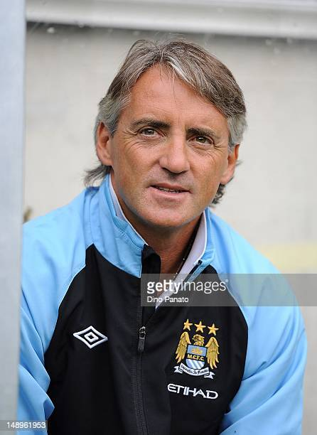 Manager Roberto Mancini of Manchester City looks on during a preseason friendly match between Manchester City and Besiktas Iston nbul at Tivoli Neu...