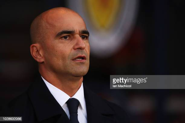 Manager Roberto Martinez of Belgium is pictured prior to the International Friendly match between Scotland and Belgium at Hampden Park on September 7...