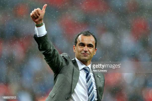 Manager Roberto Martinez of Wigan Athletic celebrates victory after the FA Cup with Budweiser Final between Manchester City and Wigan Athletic at...