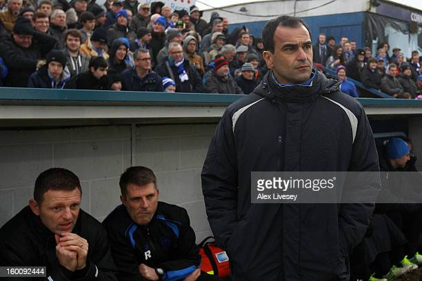 Manager Roberto Martinez of Wigan Athletic looks on ahead of the Budweiser FA Cup fourth round match between Macclesfield Town and Wigan Athletic at...