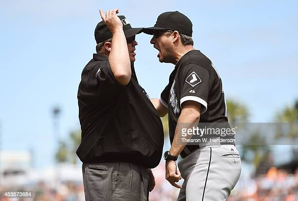 Manager Robin Ventura of the Chicago White Sox is thrown out of the game for arguing with umpire Fieldin Culbreth after a review of a play reversed a...