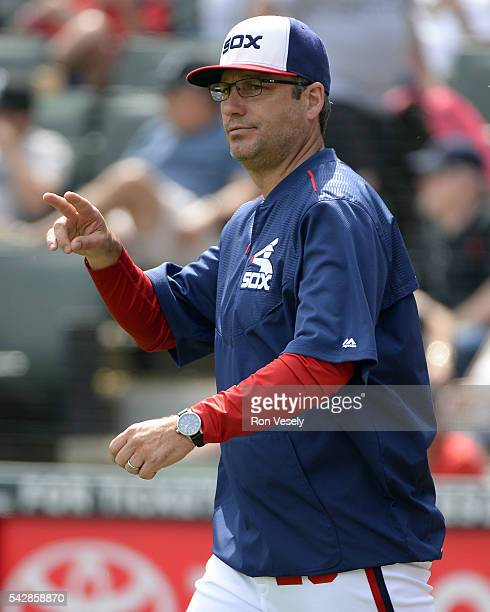 Manager Robin Ventura of the Chicago White Sox signals to make a pitching change against the Kansas City Royals on June 12 2016 at US Cellular Field...