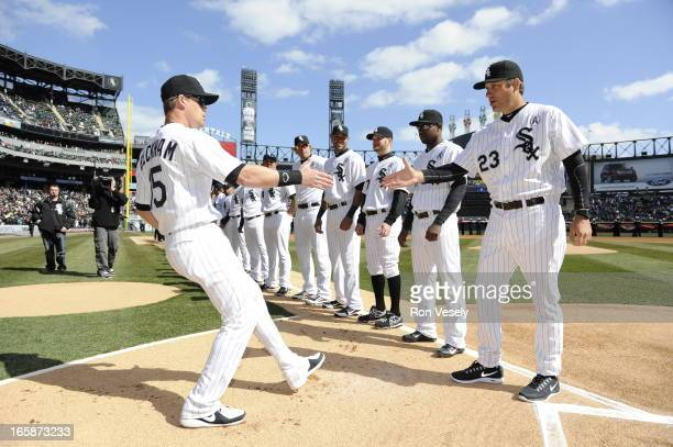 Manager Robin Venture greets Gordon Beckham of the Chicago White Sox looks on during Opening Day ceremonies prior to the game against the Kansas City...