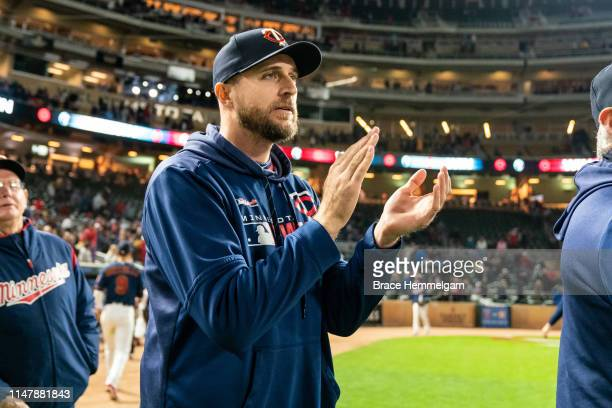 Manager Rocco Baldelli of the Minnesota Twins against the Houston Astros on April 29 2019 at the Target Field in Minneapolis Minnesota The Twins...