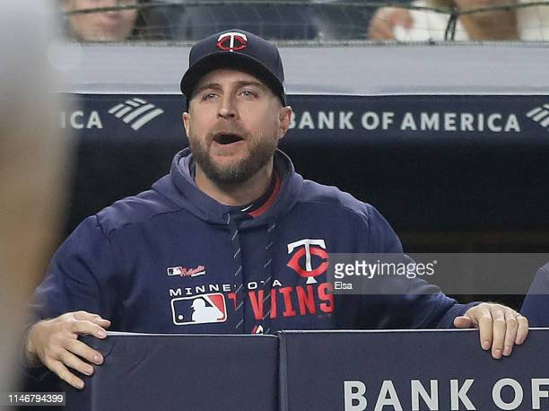 Manager Rocco Baldelli of the Minnesota Twins discusses a call in the fourth inning against the New York Yankees at Yankee Stadium on May 03 2019 in...