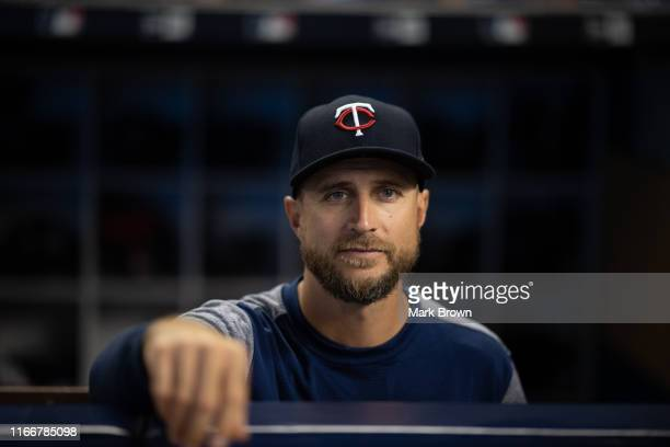 Manager Rocco Baldelli of the Minnesota Twins during batting practice before the game against the Miami Marlins at Marlins Park on July 30 2019 in...