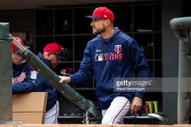 Manager Rocco Baldelli of the Minnesota Twins looks on against the Cleveland Indians on March 31 2019 at the Target Field in Minneapolis Minnesota...