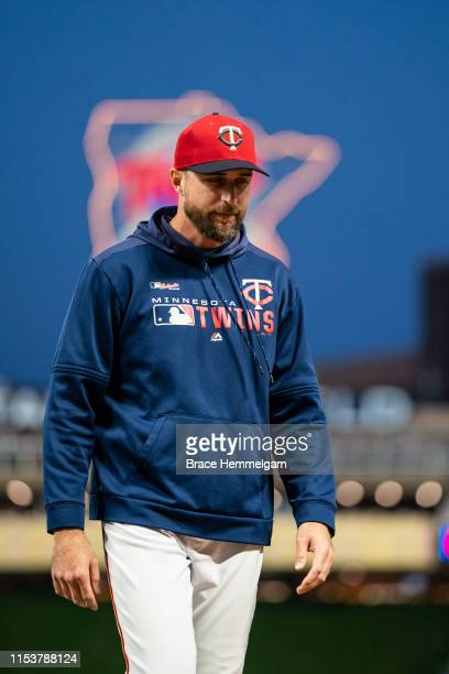 Manager Rocco Baldelli of the Minnesota Twins looks on against the Los Angeles Angels of Anaheim on May 14 2019 at the Target Field in Minneapolis...