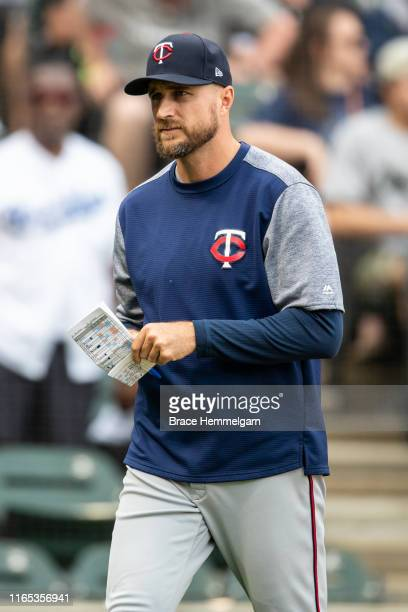 Manager Rocco Baldelli of the Minnesota Twins looks on against the Chicago White Sox on June 30 2019 at Guaranteed Rate Field in Chicago Illinois The...