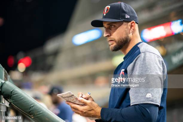 Manager Rocco Baldelli of the Minnesota Twins looks on against the New York Mets on July 16 2019 at the Target Field in Minneapolis Minnesota The...