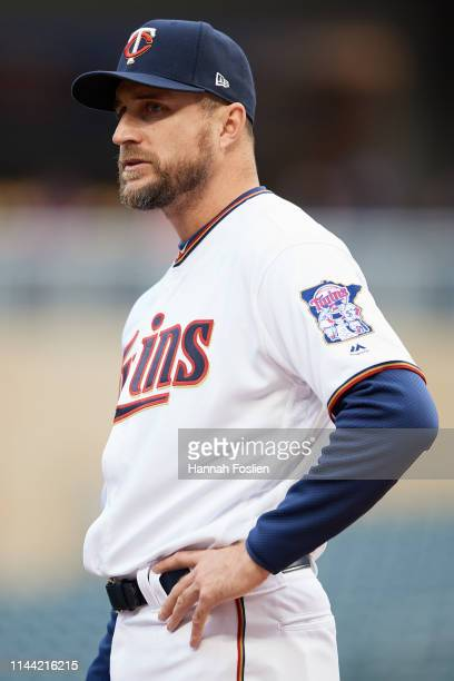 Manager Rocco Baldelli of the Minnesota Twins looks on before the game against the Toronto Blue Jays on April 15 2019 at Target Field in Minneapolis...