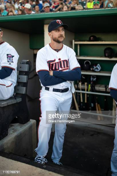 Manager Rocco Baldelli of the Minnesota Twins looks on during a spring training game against the Tampa Bay Rays on February 23 2019 at the Hammond...