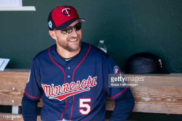 Manager Rocco Baldelli of the Minnesota Twins looks on during a spring training game against the Baltimore Orioles on February 23 2019 at Ed Smith...