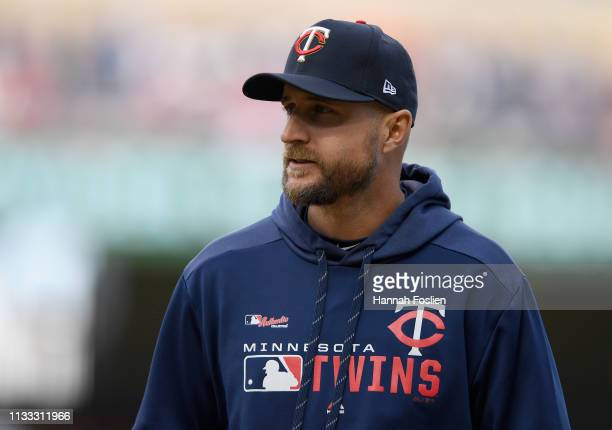 Manager Rocco Baldelli of the Minnesota Twins looks on during the eighth inning of the Opening Day game against the Cleveland Indians on March 28...