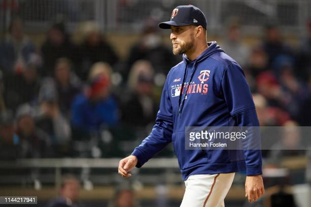 Manager Rocco Baldelli of the Minnesota Twins looks on during the game against the Toronto Blue Jays on April 15 2019 at Target Field in Minneapolis...
