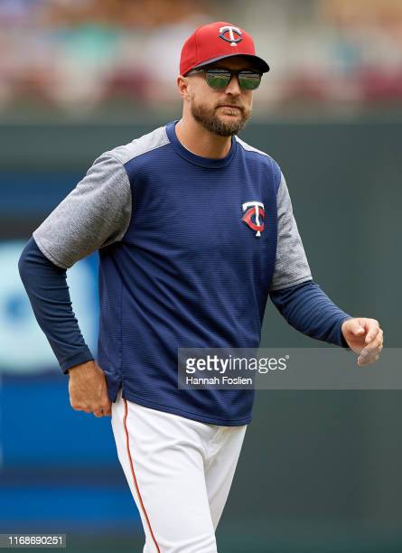 Manager Rocco Baldelli of the Minnesota Twins looks on during the game against the Cleveland Indians on August 11 2019 at Target Field in Minneapolis...