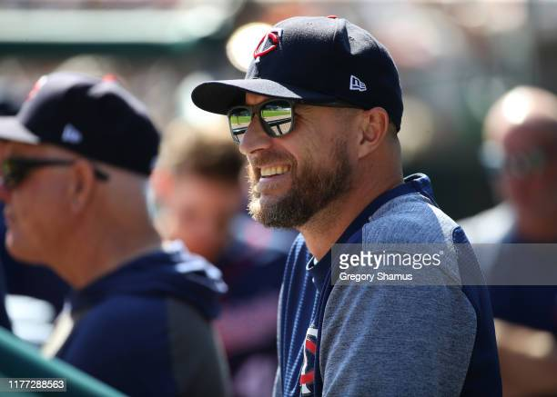 Manager Rocco Baldelli of the Minnesota Twins looks on from the dugout during the second inning while playing the Detroit Tigers at Comerica Park on...