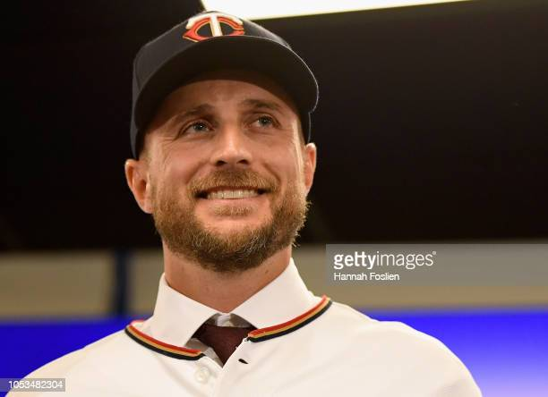 Manager Rocco Baldelli of the Minnesota Twins poses for a photo as he is introduced at a press conference at Target Field on October 25 2018 in...