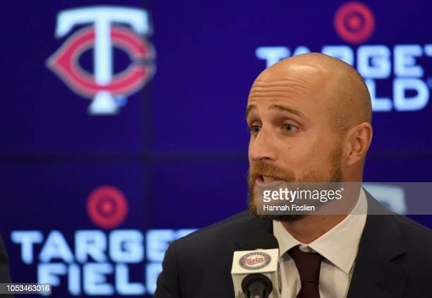 Manager Rocco Baldelli of the Minnesota Twins speaks as he is introduced at a press conference at Target Field on October 25 2018 in Minneapolis...