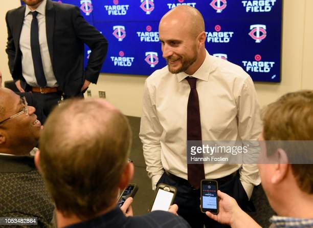 Manager Rocco Baldelli of the Minnesota Twins speaks to reporters after he was introduced at a press conference at Target Field on October 25 2018 in...