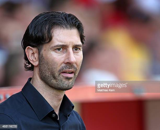 Manager Roland Benschneider of Cottbus looks on after the third league match between FC Energie Cottbus and SG Dynamo Dresden at Stadion der...