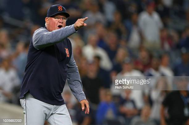 Manager Ron Gardenhire of the Detroit Tigers argues a check swing call on Luke Voit of the New York Yankees with first base umpire Paul Nauert 15...