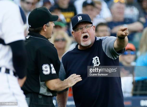 Manager Ron Gardenhire of the Detroit Tigers argues with home plate umpire James Hoye after a balk was called against Tigers pitcher Matthew Boyd...