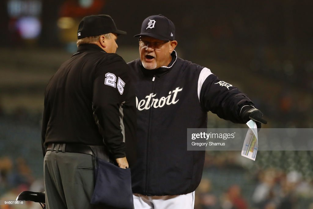 Manager Ron Gardenhire of the Detroit Tigers argues with home plate umpire Fieldin Culbreth at Comerica Park on April 13, 2018 in Detroit, Michigan. New York won the game 8-6.