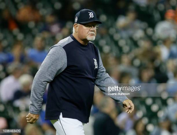 Manager Ron Gardenhire of the Detroit Tigers heads for the mound during a game against the Houston Astros at Comerica Park on September 11 2018 in...
