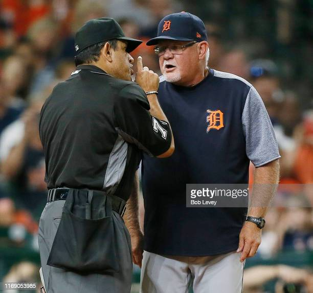 Manager Ron Gardenhire of the Detroit Tigers is ejected from the game against the Houston Astros in the fifth inning by home plate umpire Alfonso...