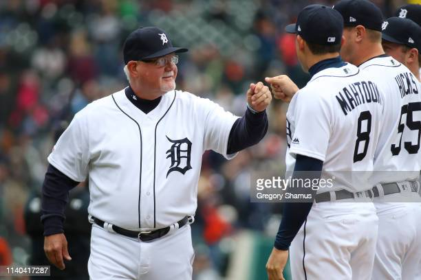 Manager Ron Gardenhire of the Detroit Tigers is introduced prior to playing the Kansas City Royals on during Opening Day at Comerica Park on April 04...