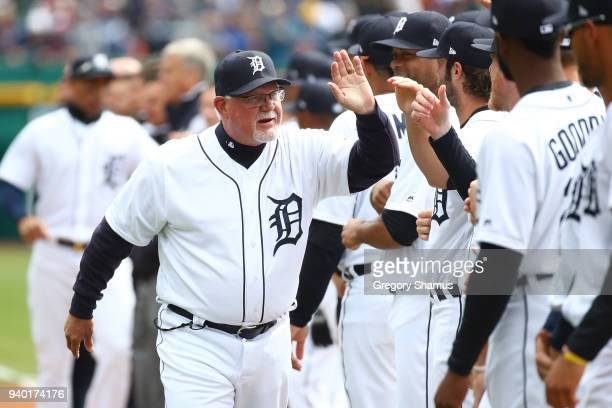 Manager Ron Gardenhire of the Detroit Tigers is introduced prior to playing the Pittsburgh Pirates during Opening Day at Comerica Park on March 30...