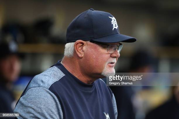 Manager Ron Gardenhire of the Detroit Tigers look on from the dugout during the second inning while playing the Cleveland Indians at Comerica Park on...
