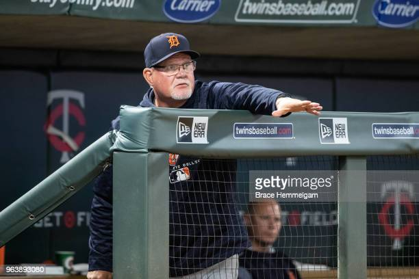 Manager Ron Gardenhire of the Detroit Tigers looks on against the Minnesota Twins on May 21 2018 at Target Field in Minneapolis Minnesota The Twins...