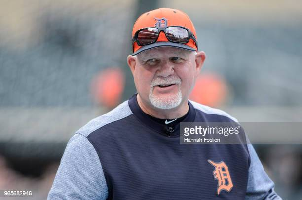 Manager Ron Gardenhire of the Detroit Tigers looks on during batting practice before the game against the Minnesota Twins on May 22 2018 at Target...
