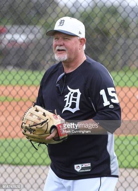 Manager Ron Gardenhire of the Detroit Tigers looks on during Spring Training workouts at the TigerTown Facility on February 14 2018 in Lakeland...