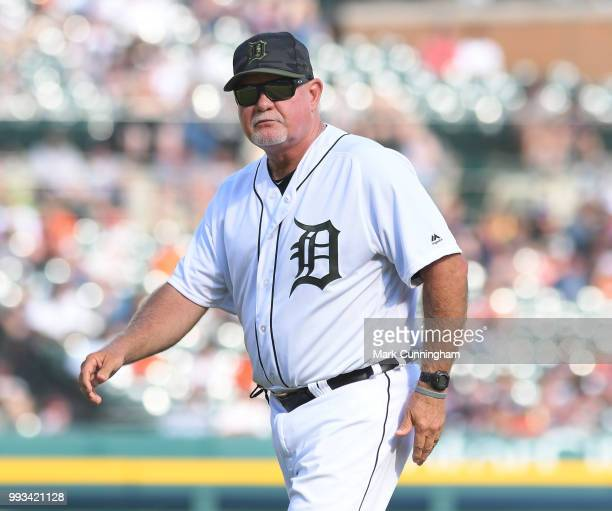 Manager Ron Gardenhire of the Detroit Tigers looks on during the game against the Chicago White Sox at Comerica Park on May 26 2018 in Detroit...