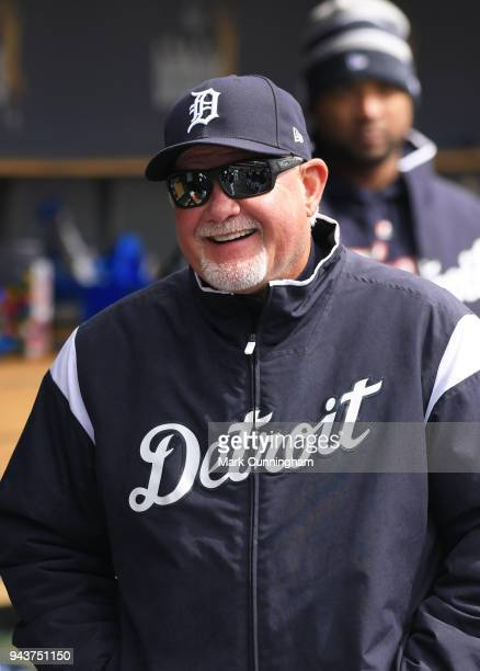 Manager Ron Gardenhire of the Detroit Tigers looks on from the dugout during game one of a double header against the Pittsburgh Pirates at Comerica...