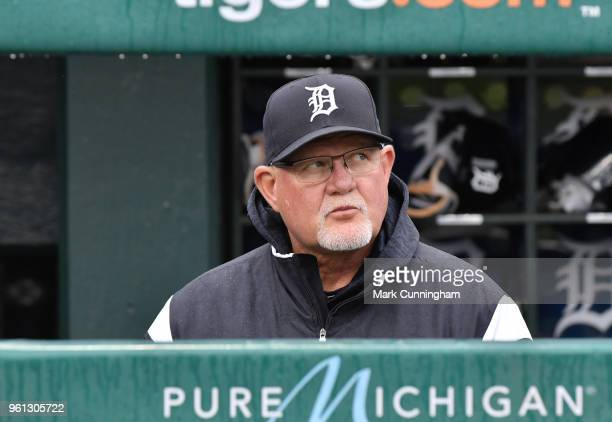 Manager Ron Gardenhire of the Detroit Tigers looks on from the dugout during the game against the Seattle Mariners at Comerica Park on May 12 2018 in...