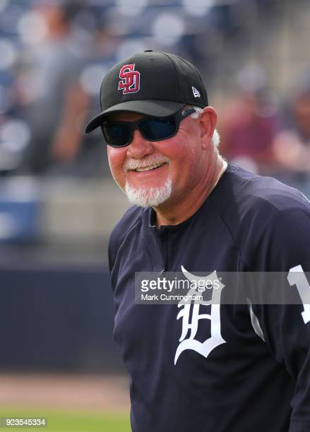 Manager Ron Gardenhire of the Detroit Tigers looks on while wearing a special SD logo baseball hat to honor the Marjory Stoneman Douglas High School...