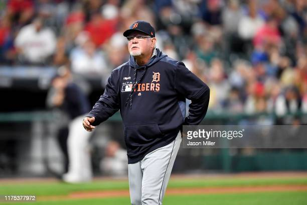 Manager Ron Gardenhire of the Detroit Tigers walks off the field after a pitching change during the fourth inning against the Cleveland Indians at...