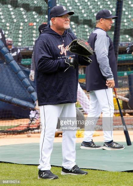 Manager Ron Gardenhire of the Detroit Tigers warms up the players before a MLB game against the Baltimore Orioles at Comerica Park on April 18 2018...