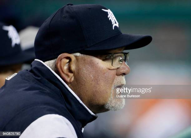 Manager Ron Gardenhire of the Detroit Tigers watches from the dugout during the seventh inning of game two of a doubleheader against the Pittsburgh...